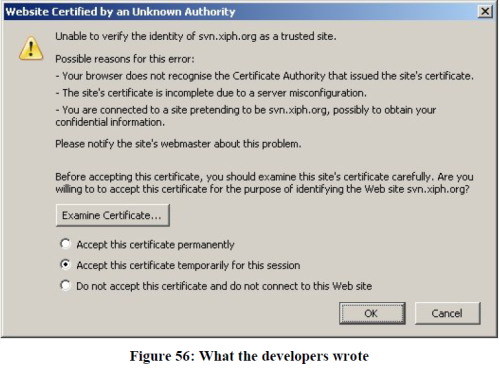 Peter Gutmann, Engineering Security, certificate warning - What the developers wrote