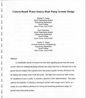 Cistern-Based Water-Source Heat Pump System Design, 1993