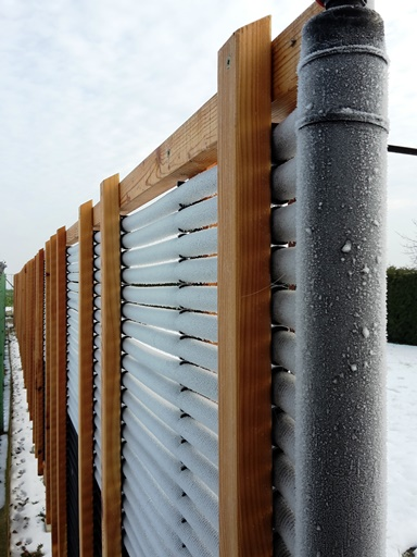 Solar collector in winter, half the area used, closeup