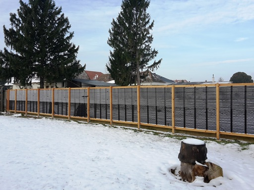 Solar collector in winter, half of the area used