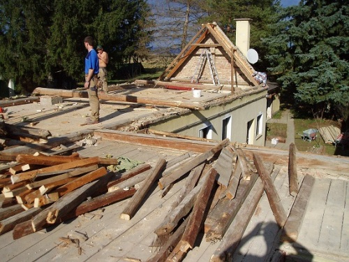 House at the point of maximum destruction (Attic rebuilding project)