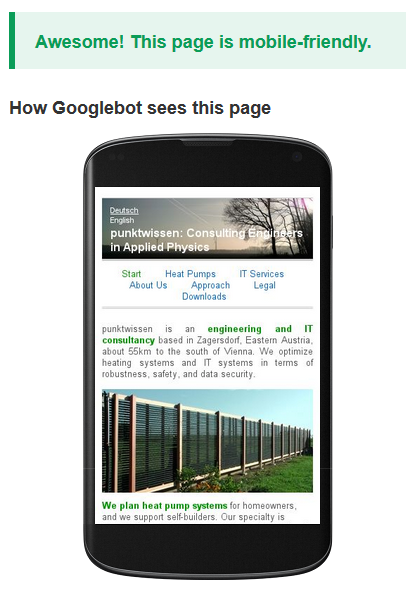 punktwissen website, Google's test for mobile friendliness