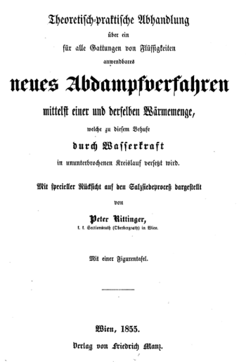 Rittinger, Abdampfverfahren, 1855. Title page.