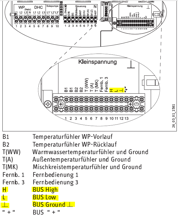 Stiebel-Eltron WPF 7 basic - CAN bus connections shown in German manual