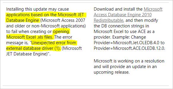 Microsoft-Artikel - Problem mit JET-Treiber / xls-Dateien nach Update